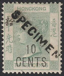 Hong Kong 1898 QV 10c on 30c w Chinese Characters SPECIMEN Unused SG55s cat £140