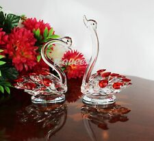 Crystal Cut Large Pair Of Red Swan For Home Decor X-Mas Wedding Gift Box