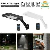 60 LED Solar Light PIR Motion Sensor IP65 Outdoor Garden Wall Dimmable Lamp