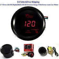 """2"""" 52mm 120 PSI Digital Red LED Oil Pressure Gauge With Sensor Auto Car Motor"""
