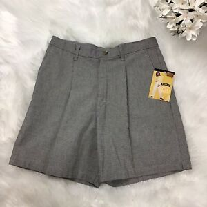 Riders Women's Pleated High Waisted 90s Wrinkle Free HoundsTooth Shorts NWT 16