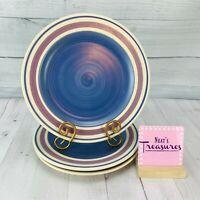 Pfaltzgraff BAJA Cream Mauve Band Blue Swirl Stoneware Dinner Plates Set of 3