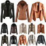 Womens PU Leather Crop Jacket Biker Motorcycle Zipper Blazer Coat Winter Outwear