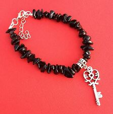 Women's Teen Girls NEW Chip & Charm Bead Gemstone Bracelet Black - Aussie Seller