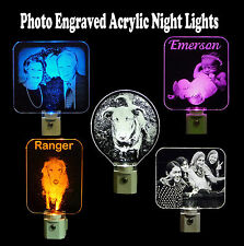 Personalized Photo Etched LED Night Light - Engraved Acrylic Great Keepsake