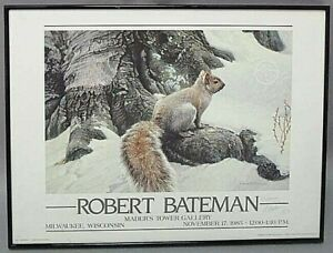 1985 ROBERT BATEMAN GRAY SQUIRREL HAND SIGNED FRAMED LITHOGRAPH PRINT