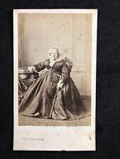 Victorian Carte De Visite CDV: Grand Lady Walking Stick Dated 1877: Levitsky