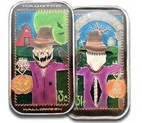 Double Enameled Halloween Scarecrow Postal Express Mint 1 oz .999 Silver Art Bar