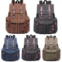 Unisex Real Leather Canvas Backpack Large School Shoulder Bag Rucksack