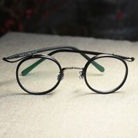 Retro round black eyeglasses frame men's circle clear lens RX optical eyewear