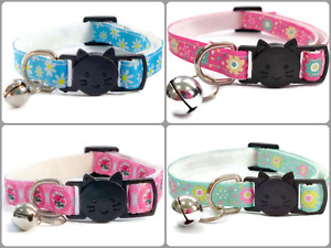 Cat Collar with Bell - Flower Print   Pet Collars   Safe, Quick Release Buckle