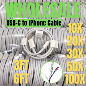 Wholesale Lot USB-C to iPhone Cable PD Fast Charger For iPhone 11 12 Pro Max XR