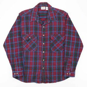 Vintage FIVE BROTHER  Red 90s Long Sleeve Flannel Shirt Mens L