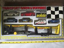 "Solido 1:43 Transporter (6) Car Set w/20"" Auto Car Hauler Transport Truck #7026"