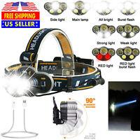 Headlamp 500000LM T6 LED Rechargeable HeadLight Flashlight Torch Lamp USA
