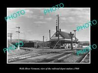 OLD POSTCARD SIZE PHOTO OF WELLS RIVER VERMONT THE RAILROAD DEPOT c1960