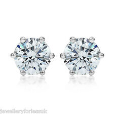 18Carat White Gold Half Carat Solitaire Diamond 6-Claw Stud Earrings 0.50cts