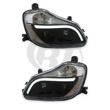 Headlights Headlamps for 13-19 Kenworth T-680 (Black) Left Right Pair Set