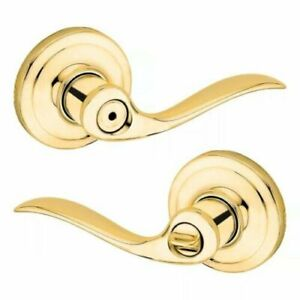 Kwikset Tustin/Polished Brass Bed & Bath Privacy Lock/Lever.