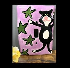 Stinker Smelly Cat Light Switch Cover Hand Painted Ceramic