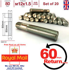 BWM 3 Series Conversion wheel studs screw-in hub. M12 x 1.5 80mm Long, set of 20