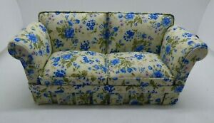 Country Style Sofa in Blue Floral by JBM - Dollhouse Miniature