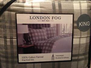 London Fog Gray Plaid Flannel King Sheet Set