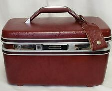Vintage Samsonite Beauty Train Make Up Case Luggage Red Burgundy Mirror Tray