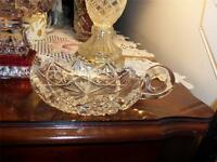 Vintage Hawkes American Art Glass Crystal Cut Handle Nappy Dish Brilliant Bowl