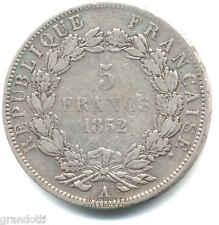 LOUIS NAPOLEON BONAPARTE 5 FRANCS 1852 A PARIS FRANCE SILVER