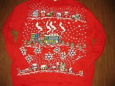UGLY CHRISTMAS vtg sweatshirt sweater snowy landscape snowflakes cabins