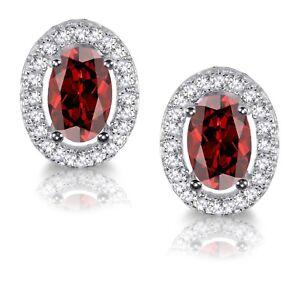 Garnet Red Oval Simulated Diamond Halo Sterling Silver Stud Earrings
