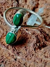 STERLING SILVER BAND RING with 2 MALACHITE CABOCHON STONES UK.size M £18.95 NWT