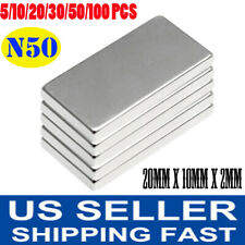5 100pcs N50 Rectangle Magnets Strong Hold Neodymium Rare Earth Block 20x10x2mm