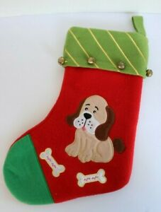 Puppy Dog with Bones Christmas Stocking Bells Red Green