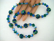 Vintage Art Glass Wedding Cake Bead Necklace Blue Green Barrel Clasp 21""