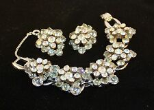 Vtg  D&E/ Juliana Lght Smoke AB Rhinestone Bracelet & Earrings Silver-tone  Book