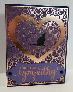 Handcrafted Greeting Card - Pet Sympathy - Cat - Purple/Bronze