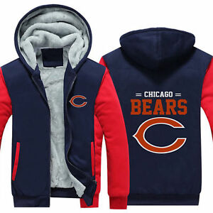 Chicago Bears Team Hoodie Jacket Thicken Coat Luminous Sweatshirt