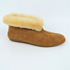Minnetonka Tan Suede Shearling Lined Slippers Womens Size 9