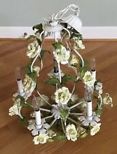 ANTIQUE ITALIAN TOLE 32 YELLOW PORCELAIN ROSES 5 LIGHT CHANDELIER SHABBY CHIC