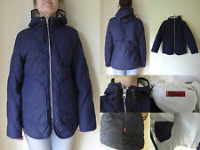 LEVIS Navy Blue Quilted Winter Hood Ski Jacket Coat Red Tab MEDIUM 10 S NEW £215
