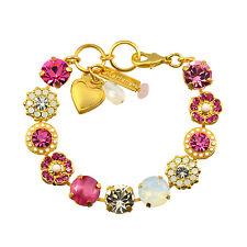 "Mariana ""Cherry Blossom"" Gold Plated Large Gem Tennis Bracelet w Heart, 8"""