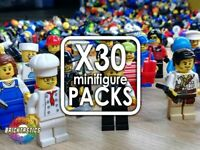 LEGO X30 QTY MINIFIGURE PACKS - NO DOUBLES, COME WITH HATS & HAIR + ACCESSORIES!