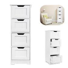 White Cabinet Storage Wooden Slim Drawers Bathroom Freestanding Organizer Unit