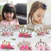 Baby Girls Kids Children Shiny Crown Princess Rabbit Ear Crystal Hair Clips AK88