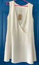 Rachel Comey Womens Faux Wrap Dress Ivory Surplice Neck Sleeveless 4 New