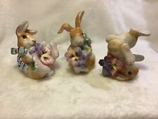 Fitz & Floyd Halcyon Tumblers, Set Of 3 Spring Bunnies Holding Colorful Pansies
