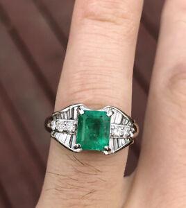 Wow Platinum Natural Emerald & Diamond Ring 2.57 8g