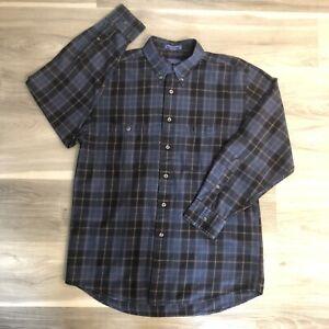Pendleton Expedition Men's Medium Cotton Plaid Button Front Shirt Dark Blue